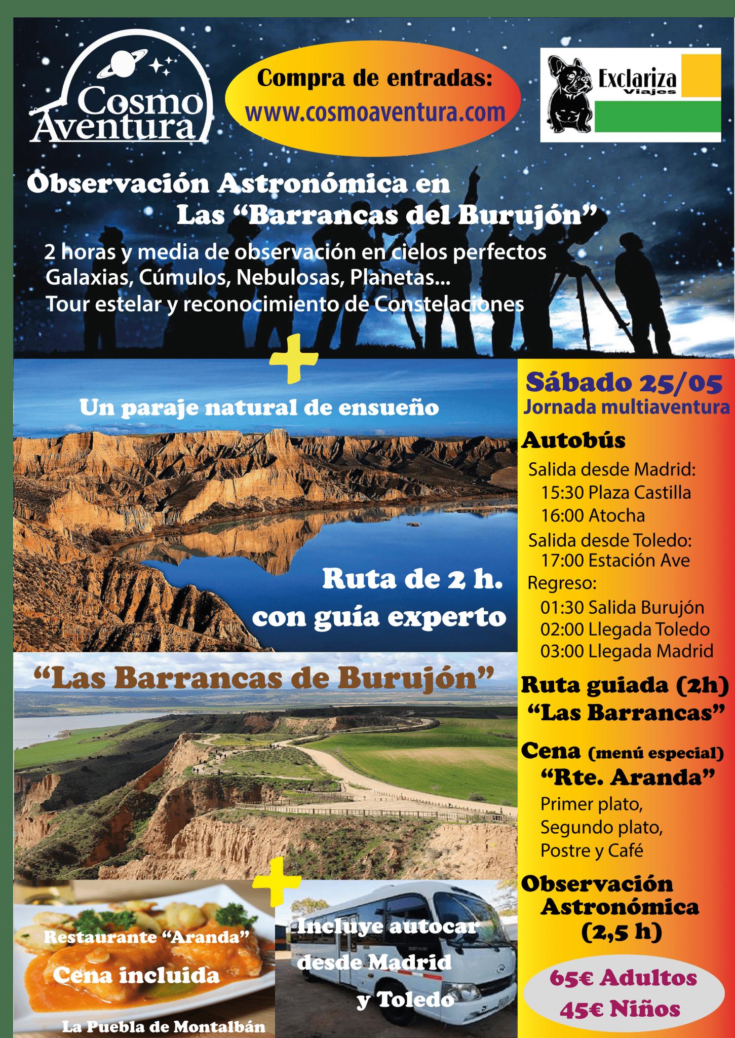 """Jornada de Astroturismo: Autobús + Excursión con guía a """"Las Barrancas del Burujón"""" + Cena especial + Observación Astronómica"""