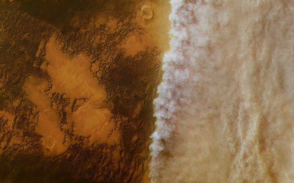 "La Sonda Espacial ""Mars Express"" Capta una Tormenta de Polvo en Marte"