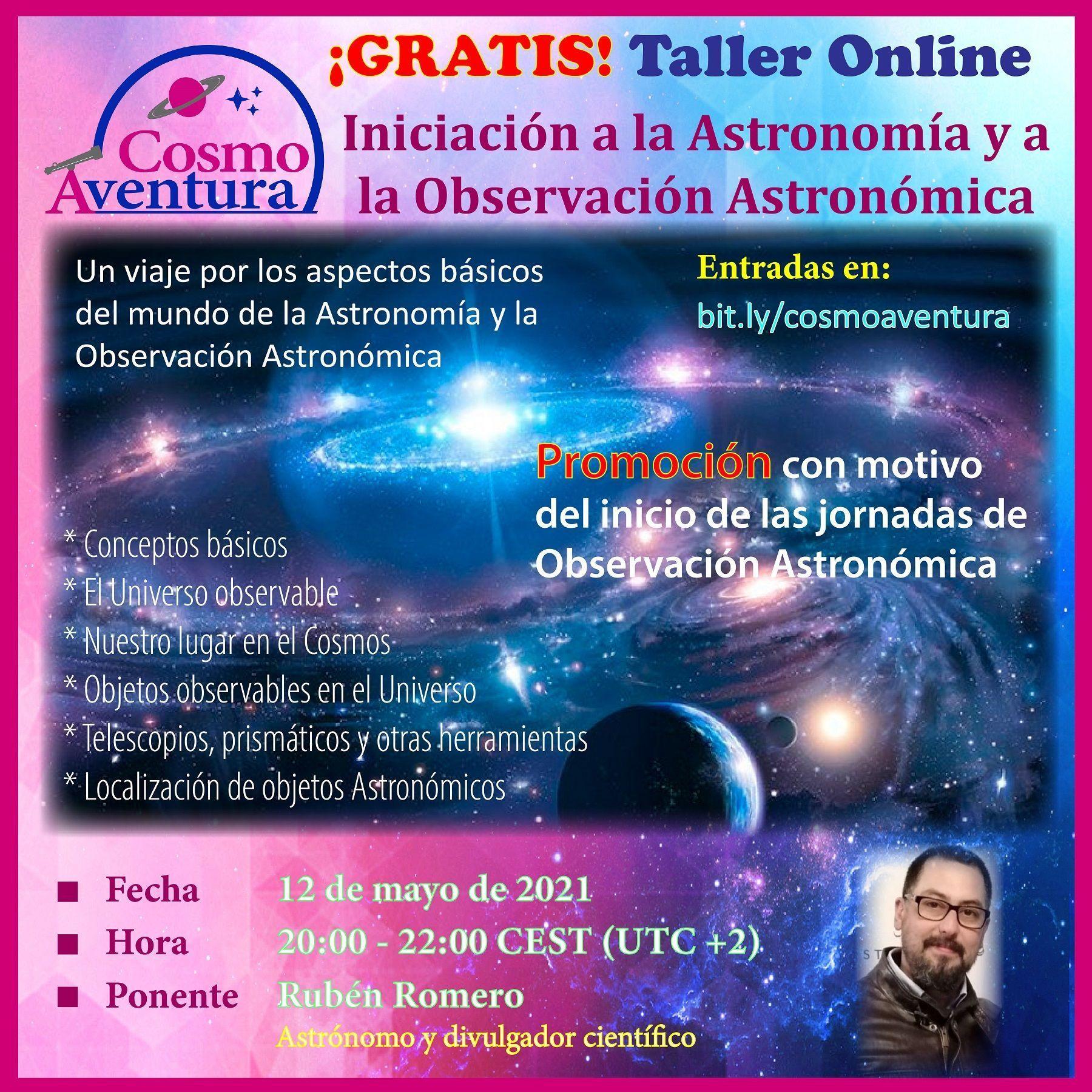 ¡¡¡GRATIS!!! 12-05-2021.- Taller Online: Iniciación a la Astronomía y a la Observación Astronómica