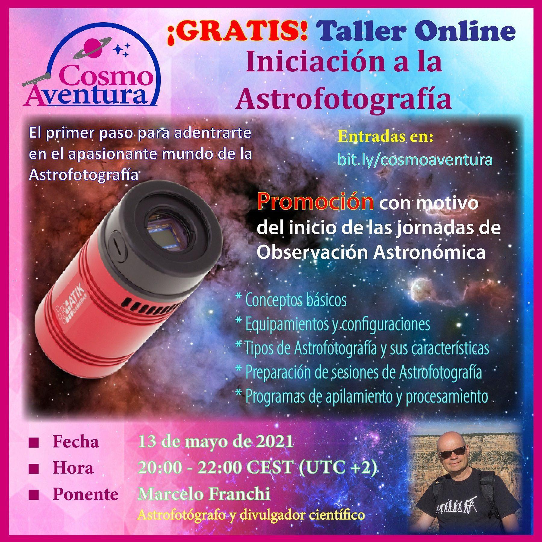 (GRATIS) 13-05-2021 – Taller Online: Iniciación a la Astrofotografía