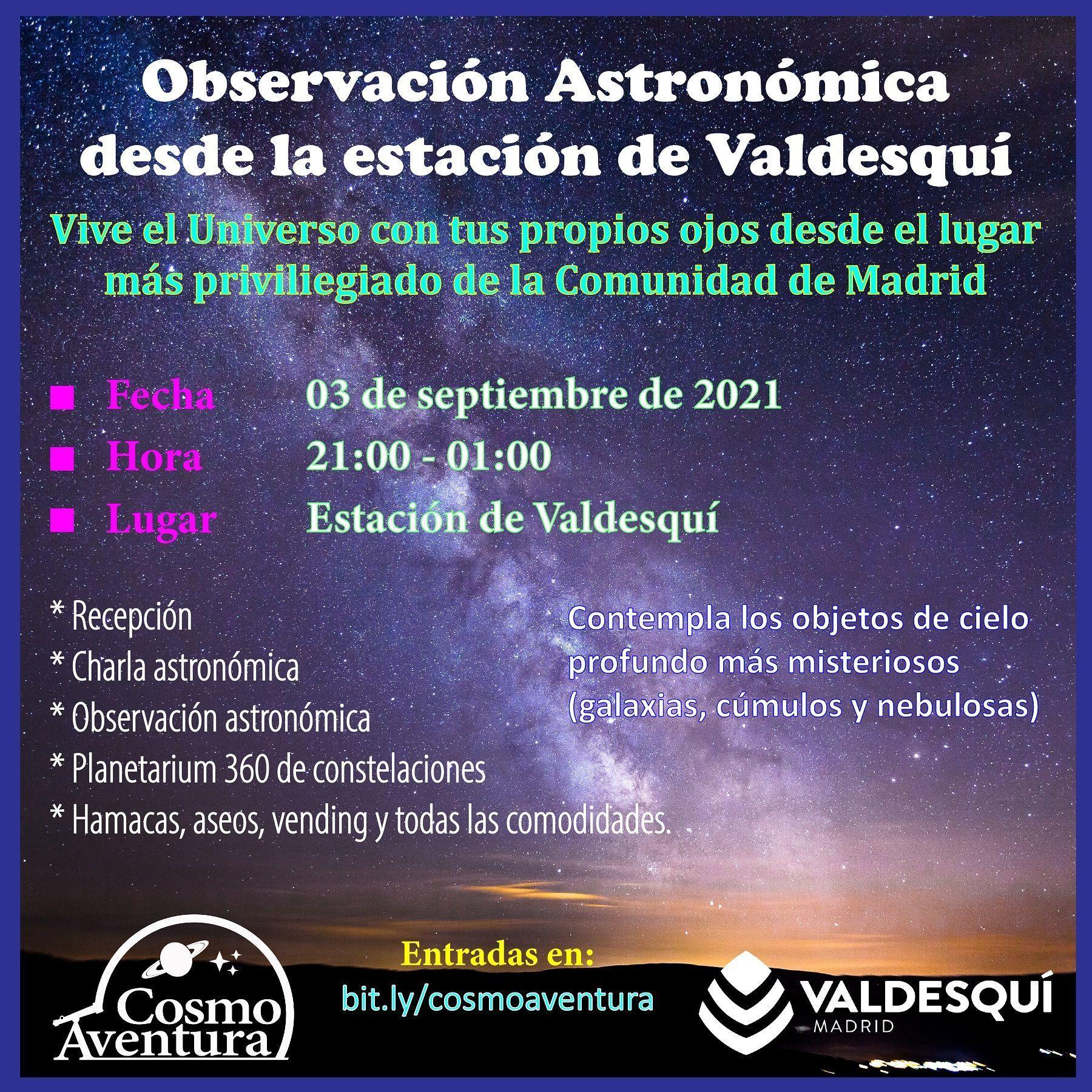 (CANCELADO POR CLIMATOLOGÍA) 03-09-2021.- Observación Astronómica en el lugar más exclusivo de Madrid: La Estación de Valdesquí