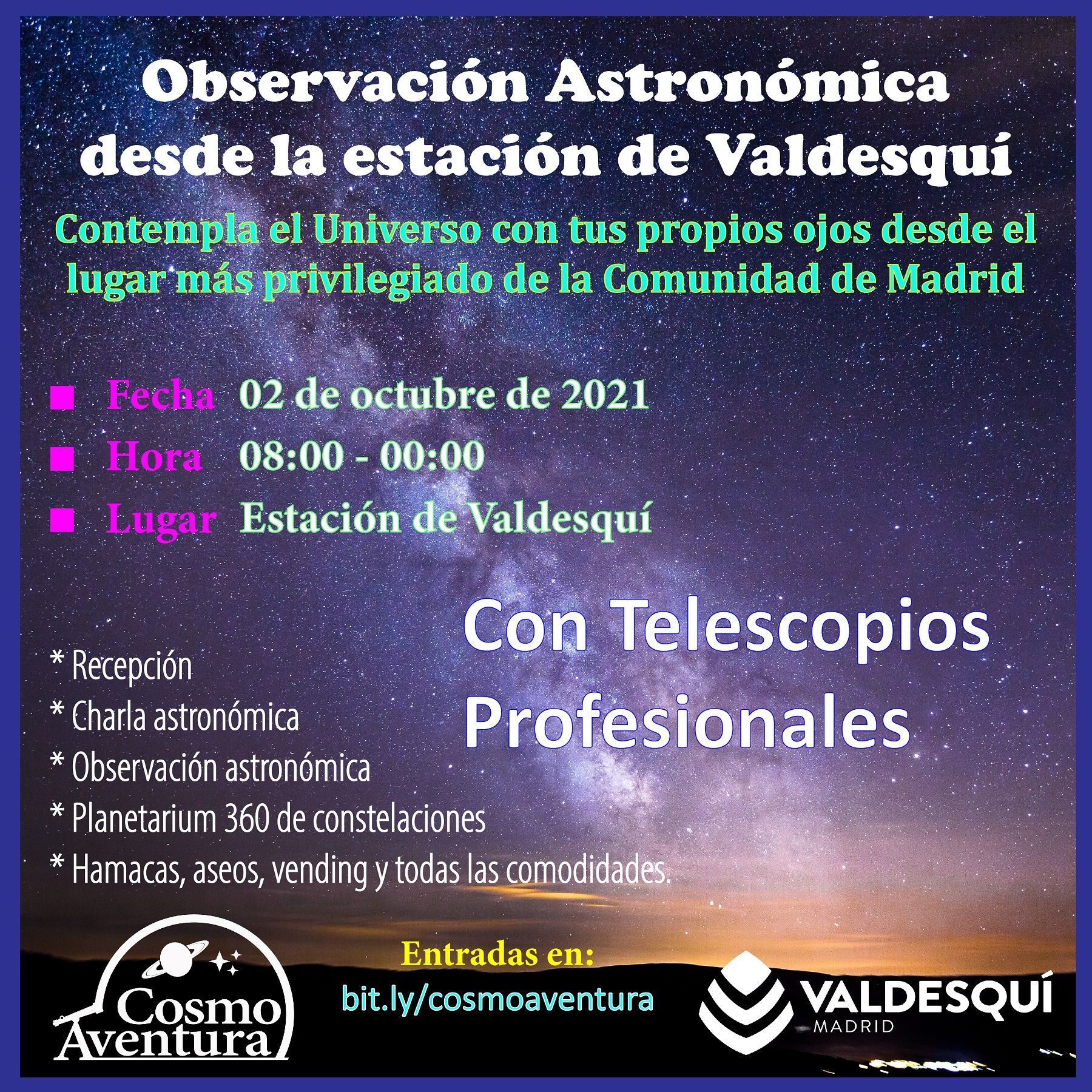 (CANCELADO POR METEOROLOGIA) 02-10-2021.- Observación Astronómica en el lugar más exclusivo de Madrid: La Estación de Valdesquí