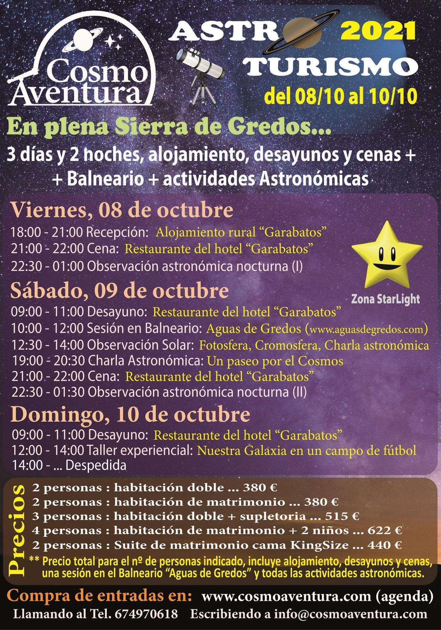 (COMPLETO) 08, 09 y 10 de Octubre… Fin de semana completo de jornadas de AstroTurismo en la Sierra de Gredos